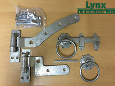 Curved Rail Gate Hinge Hanging Set 300mm Left Hand + Ring Latch GALVANISED