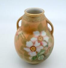 Hand Painted Nippon Vase Enamel Flowers Gold Trim Moriage 6 inch