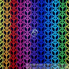BonEful Fabric FQ Cotton Quilt Black Rainbow Hippie Peace Sign Stripe Polka Dot