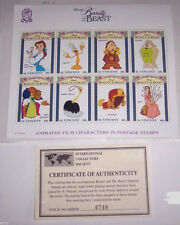 Disney Animated Film Characters in Postage Stamps Beauty & the Beast St Vincent