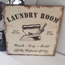 Shabby Vintage Chic Metal Wall Plaque Self Service laundry Sign