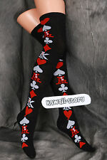 So-09 black schwarz Poker Gothic Lolita Socken Overknees Strümpfe Stockings