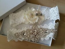 Wedding garter, Bridal Garter Set - CRYSTAL & FLOWER Wedding Garter Set