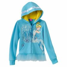 CINDERELLA BLUE ZIP JACKET WITH PRINCESS FRINGE! SIZE X-LARGE GIRLS (16)! NEW!