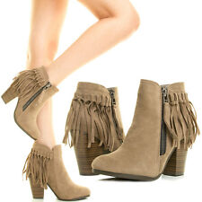 TAUPE FRINGE TASSEL HIGH CHUNKY HEEL COWBOY WESTERN WOMENS ANKLE BOOT BOOTIES 11