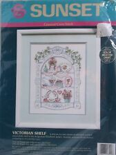Sunset Counted Cross Stitch Kit 1991 Victorian Shelf open and some completed
