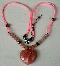 Pink Rose Quartz Heart Pendant Necklace Reiki Blessed, Crystal Healing for LOVE