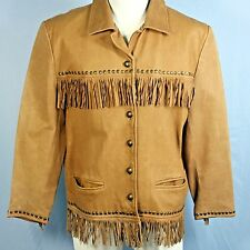 Santa Fe Fringed Leather Jacket Mens M Studded Western Frontier Hippy Rockabilly