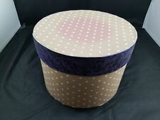 BEAUTIFUL COLLECTIBLE FLOWER PATTERN HANDMADE WALLPAPER HAT BOX - PINK & PURPLE