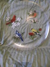 """Vintage 12"""" Glass Plate 4 birds goldleaf trim Cardinal Robin Goldfinch Bluejay"""
