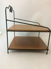 Longaberger Wrought Iron Paper Tray Stand Bin Foundry w 2 Shelves Warm Brown