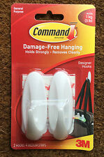 COMMAND 3M DESIGNER HOOKS HANGING WHITE PLASTIC 17081 GENERAL PURPOSE 2 HOOKS