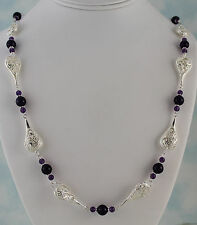 "Amethyst 8mm & 4mm Rounds & Filigree Links Necklace 26"" w/Toggle Silver Plated"