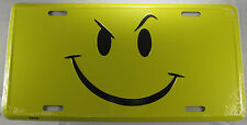 SMILEY FACE METAL LICENSE PLATE GRIN SMIRK HAPPY YELLOW SIGN NEW L227