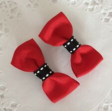 2 Packs Of Red hair bow Clips/hair Accesories/School Uniform