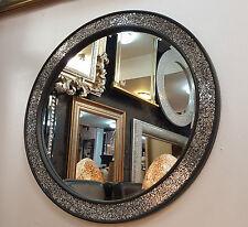 Design craquelé Rond miroir mural cadre plat mosaïque verre 80 cm fait main noir