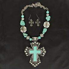 Blazin Roxx Western Jewelry Women Necklace Earrings Cross Bead Silver Turq 30372
