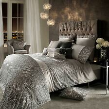 KYLIE MINOGUE ESTA SEQUIN SATIN SILVER DOUBLE COTTON 7 PIECE BEDDING SET