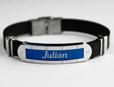 JULIAN - Mens Silicone & Blue Name Plate Engraved Bracelet - Fathers Day Gifts