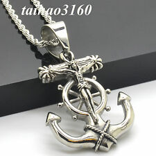 Cool Men's Crucifix Anchor Stainless Steel Pendant Necklace 3mm Rope Chain CS349