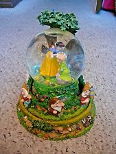 Rare Disney Snow White Seven Dwarfs Rotating Musical Snow Globe The Yodel Song