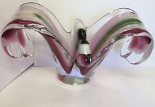 VINTAGE RETRO 1950s / 60s FLYGSFORS COQUILLE VASE SIGNED ART GLASS FREEFORM