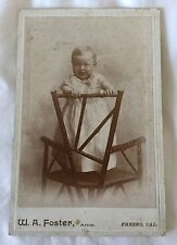 Antique Cabinet photo baby is standing on a wooden chair, W.A Foster, Artist