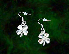 CELTIC 4 FOUR LEAF CLOVER SHAMROCK LUCKY CHARM SILVER EARRINGS~STERLING WIRES