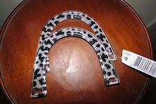 Pair of Black and White Spotted Plastic Purse Handles - New