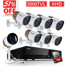 ELEC 8CH 1080P 2000TVL CCTV AHD DVR Night Vision Security Camera System 1TB HDD
