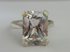 Stunning Large Clear Gemstone & 9k White Gold Ring Size Q By REM