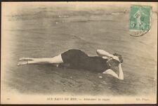 CARTE POSTALE JEUNE FEMME JOLIE BAIGNEUSE LE HAVRE 1917