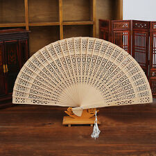 Vintage Wooden Chinese Fragrant Bamboo Carved Hollow Foldable Folding Hand Fan