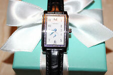 NIB Tiffany & Co. Grand quartz resonator black crocodile diamonds Swiss made