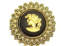 Wedgwood: Lapel Pin, Black Jasperware With Gold Girl Profile On Antique Brass