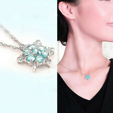 Silver Plated Snowflake Frozen Blue Crystal Flower Necklace Pendant XMAS Gift
