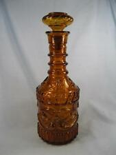 Floral Designs Decorative Amber Brown Glass Decanter Liquor Bottle Unknown (O)