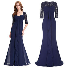 Long Lace Chiffon Dresses Bridesmaid Formal Evening Party Gown Prom Navy Blue 16