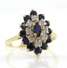 Solid 14K Yellow Gold Natural Blue Sapphire Diamond Halo Cluster Ring Sz 5.75 A3