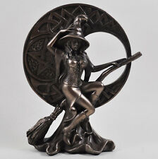 Witch with Celtic Moon, Bronze Ornament. H 17cm Altar, Wiccan, Pagan, Broomstick
