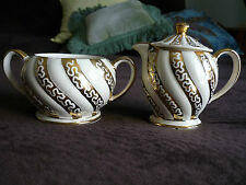 BEAUTIFUL SADLER CREAMER & SUGAR BOWL WITH LID/ENGLAND/1950'S,GORGEOUS GOLD!