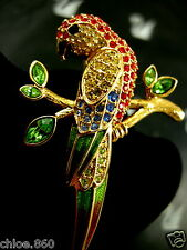 SIGNED SWAROVSKI GOLD PLATED CRYSTAL PARROT BIRD  PIN ~ BROOCH RETIRED NEW