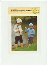 Vintage Knitting Pattern, Childs Polo neck Jersey & hat, 22-32in, fol 216