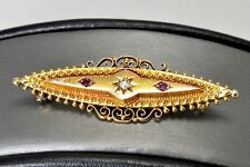 Stunning Victorian 15k 15ct Gold Diamond Ruby Pin Brooch Pendant 1900 marked