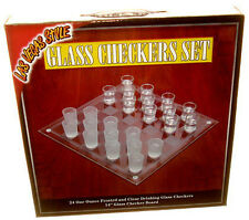 Glass Checkers Set 24 Shot Glasses & Game Board Loads of Fun FREE SHIPPING *