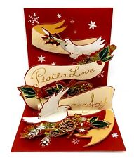 Christmas Pop Up Greeting Card Noel Peace Love Joy Doves 3D Holiday Card
