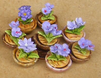 1:12 Scale Small Lavender Blue Flower In A Pot Dolls House Miniatures Garden