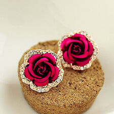 1 Pair Fashion Women Gold Plated Red Rose Flower Crystal Diamante Stud Earrings