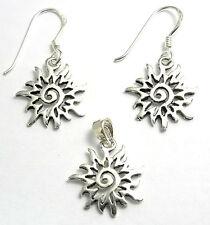 Parure Boucles d'Oreilles+Pendentif en Argent 925 Bijoux Soleil earrings sun