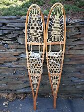 VINTAGE Snowshoes 56x10 Snow Shoes with Leather Binding VERMONT TUBBS